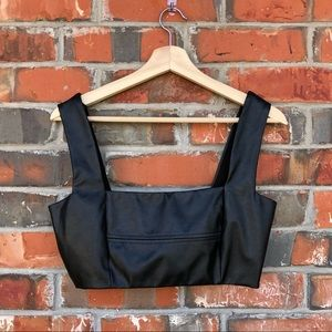 Zara Black Pleather Crop Top Bralette M
